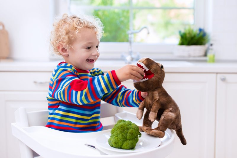 picky eater pro toddler sitting in his high chair and feeding broccoli to his stuffed dinosaur