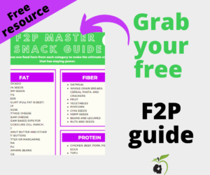Free guide to fiber, fat, protein snacks